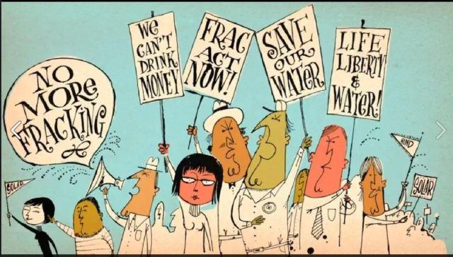 No Frack cartoon protest